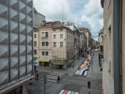<p>Lang/Baumann, <em>Street Painting #8</em>, 2015, road marking paint, 165 x 3 m, installation view, Rue de la Visitation / Rue des Ponts, Nancy France, Courtesy: Ville de Nancy</p>