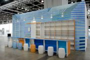 <p>Tobias Rehberger, <em>HOMEAWAY (Oppenheimer Drawings II)</em>,&nbsp;2014, colored porcelain, bar: 370 x 870 x 270 cm, wall: 360 x 870 cm. Installation view, Art Basel Hong Kong Encounters, 2014</p>
