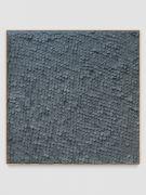 <p>Mirko Baselgia, Gray<em>&nbsp;Square</em>, 2020, paper sewn on linen with larch wood frame, 110 x 110 x 3.3 cm, photo: Stefan Altenburger</p>