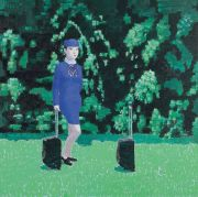 "<p>Wang Xingwei, <em isrender=""true"">untitled (hostess and trolley)</em>, 2005, oil on canvas, 200 x 200 cm</p>"