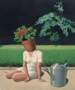 "<p>Wang Xingwei, <em isrender=""true"">untitled (flowerpot)</em>, 2009, oil on canvas, 240 x 200 cm</p>"
