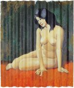 "<p>Wang Xingwei, <em isrender=""true"">Nude</em>, 2003, oil on corrugated wood fiber board, 210 x 180 cm</p>"