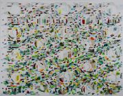 <p>Tanya Goel, <em>Mechanisms 6</em>, 2019, mica, crushed glass, paper silk and acrylic pigment on canvas, 183 x&nbsp;229 cm</p>