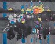 <p>Rebekka Steiger, <em>meteor</em>, 2020, tempera, ink and oil on canvas, 120 x 150 cm</p>