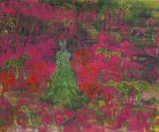 <p>Rebekka Steiger, <em>running for the flesh (of dinosaurs and men)</em>, 2018, oil, tempera, pastel and gouache on canvas, 200 x 240 cm</p>