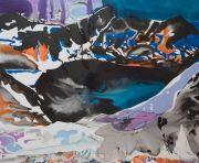 <p>Rebekka Steiger, <em>clouds in my coffee</em>, 2020, ink and oil on canvas, 200 x 240 cm</p>