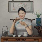 <p>王兴伟,<em>中国茶艺</em>,2021,布面油画,100 x 100 cm</p>