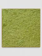 <p>Mirko Baselgia, <em>Green Square</em>, 2020, paper sewn on linen with larch wood frame, 110 x 110 x 3.3 cm, photo: Stefan Altenburger</p>