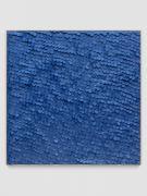 <p>Mirko Baselgia, <em>Blue Square</em>, 2020, paper sewn on linen with larch wood frame, 110 x 110 x 3.3 cm, photo: Stefan Altenburger</p>