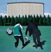 "<p>Wang Xingwei, <em isrender=""true"">Side Park Football Field</em>, 2009, oil on canvas, 200 x 200 cm</p>"