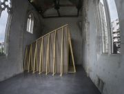 <p>Lang/Baumann, <em>Open #2</em>, 2014, wood, lacquer, 20.5 x 5.5 x 5.4 m, installation view, Les &eacute;glises - Centre d&#39;art contemporain, Chelles, France</p>
