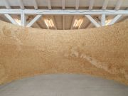 <p>Mirko Baselgia, <em>Bigger Landscape</em>, 2021, stone pine wood (Pinus cembra) on wood panels, 253 x 1570 cm; &oslash; 550 cm (interior: &oslash; 500 cm), photo by Stefan Altenburger</p>