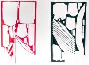 <p>Marion Baruch, <em>Al di l&agrave; del tempo. Il rosso e il nero</em>, 2017, polyester (diptych), 270 x 310 cm</p>