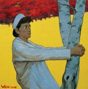 "<p>Wang Xingwei, <em isrender=""true"">untitled (nurse hugging a tree)</em>, 2006, oil on canvas, 135 x 135 cm</p>"