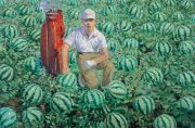 "<p>Wang Xingwei, <em isrender=""true"">untitled (golf player and watermelons No.1)</em>, 2005, oil on canvas, 137 x 210 cm</p>"