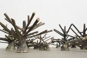 <p>Hu Qingyan, <em>Fruitless Trees</em>, 2014, cast bronze, 29 pcs, sizes vary from 11 x 21 x 10 cm to 45.5 x 92 x 56 cm</p>