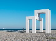 <p>Lang/Baumann, <em>Up #3</em>, 2017, steel, wood, paint, 9.2 x 11.5 x 10 m, installation view, <em>Un &eacute;t&eacute; au Havre</em>, Plage / Porte Oc&eacute;ane, Le Havre, France</p>