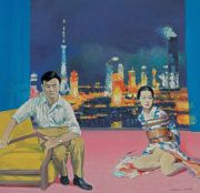 "<p>Wang Xingwei,<em isrender=""true""> The Night in Shanghai</em>, 2004, oil on canvas, 169 x 176 cm</p>"