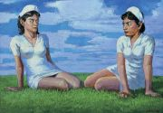 "<p>Wang Xingwei, <em isrender=""true"">untitled (two nurses)</em>, 2005, oil on canvas, 107 x 154 cm</p>"
