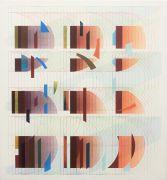 <p>Tanya Goel, <em>Quadrant 1</em>, 2019, silk, crushed glass and acrylic pigments on canvas, 71 x 66 cm</p>