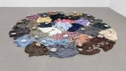 <p>Zhang Xuerui, <em>Alienated Substance</em>, 2015 - 2018, old clothes, cotton thread, cloth, approx. 32 pcs., sizes vary from 60 x 60 cm to 80 x 80 cm</p>