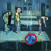 """<p>Xie Nanxing, <em isrender=""""true"""">Old Aged Generation No.1,</em> 1994, chalk, acrylic and oil on canvas, 130 x 130 cm</p>"""