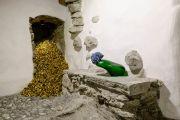 <p>Exhibition View of <em>Minestrone</em>, 2021, Ardez, Switzerland (Hu Qingyan, <em>Mountain of Gold,</em>&nbsp;2012; Tobias Rehberger, <em>Cao Yu</em>, 2019)</p>