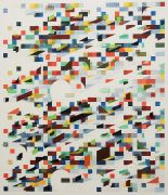 <p>Tanya Goel, <em>Study for semitone on multiples</em>, 2019, crushed glass, mica, aluminium and acrylic on canvas, 112 x&nbsp;96.5 cm</p>