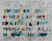 <p>Tanya Goel, <em>Mechanisms 7</em>, 2019, mica, crushed glass, paper silk and acrylic pigment on canvas, 213 x&nbsp;274 cm</p>