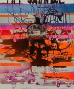 <p>Rebekka Steiger, <em>pacman</em>, 2020, tempera, ink and oil on canvas, 240 x 200 cm</p>