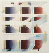 <p>Tanya Goel, <em>Quadrant 2</em>, 2019, silk, crushed glass and acrylic pigments on canvas, 71 x 66 cm</p>