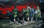 "<p>Wang Xingwei, <em isrender=""true"">Eight Women&#39;s Suicide in a River</em>, 2003, oil on canvas, 195 x 300 cm</p>"