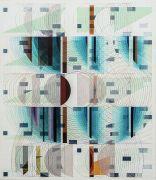 <p>Tanya Goel, <em>Quadrant 5</em>, 2019, silk, crushed glass and acrylic pigments on<br /> canvas, 112 x&nbsp;96.5 cm</p>